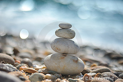 Zen rocks on the beach