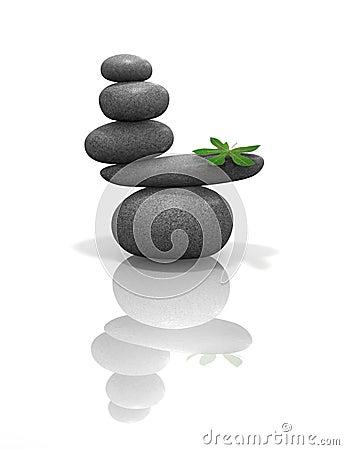 Zen stones balanced with leaf