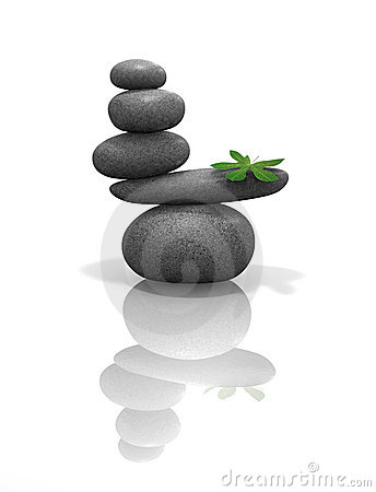 Free Zen Stones Balanced With Leaf Royalty Free Stock Photo - 3213155