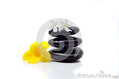 Zen stones with flowers