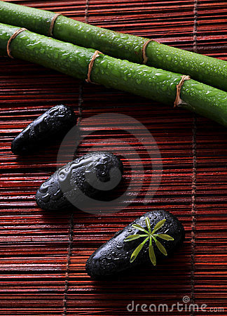Zen stones and green bamboo