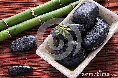 Zen stones and green bamboo
