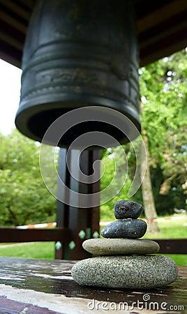 Zen stones and japenese bell