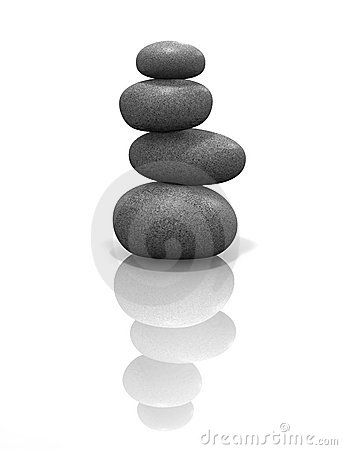 Zen stones stacked, balanced & isolated