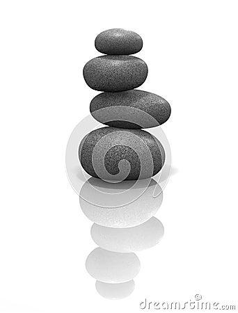 Zen stones stacked, balanced & isolated