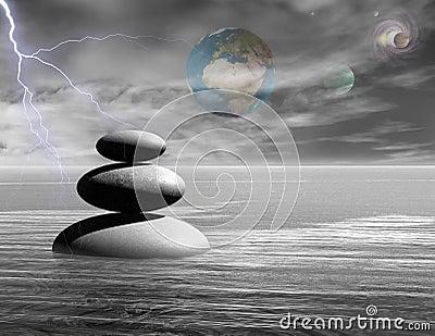 Zen stones with universe