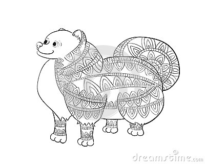 Zen Coloring Book Download Tangle Pomeranian Zentangle Spitz Vector With