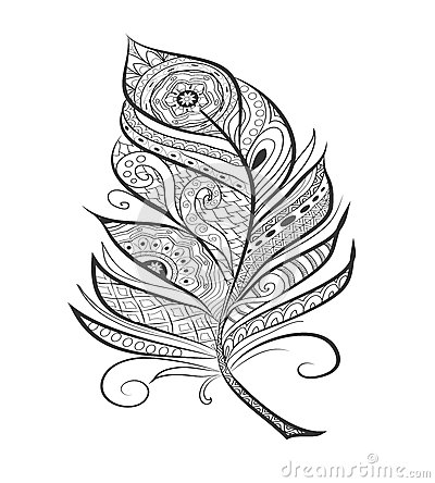 Zen tangle stylized feather for coloring page. Vector Illustration