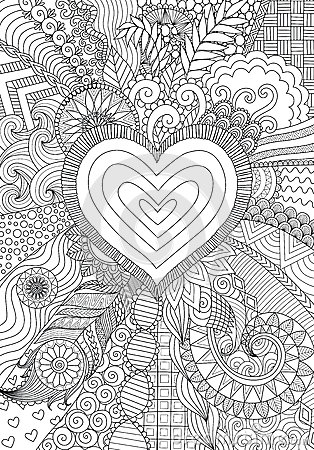 Zendoodle Design Of Heart Shape On Abstract Line Art