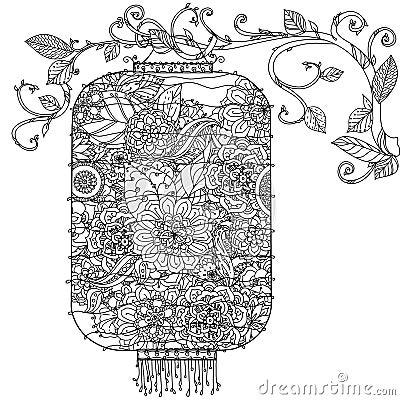 Zentagle chinois de lanterne illustration de vecteur image 66561080 - Dessin arbre chinois ...