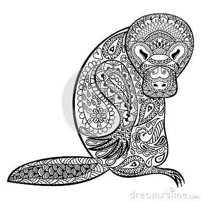 Zentangle Australian Platypus Totem For Adult Anti Stress