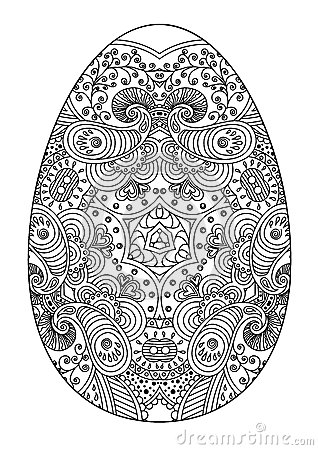 Zentangle Black And White Decorative Easter Egg Stock