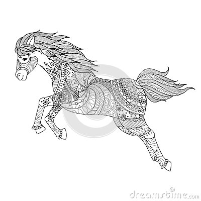 Zentangle Design For Jumping Horse For Coloring Book Stock