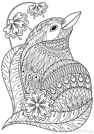 Zentangle Exotic Bird In Flowers Hand Drawn Ethnic Animal For A Stock Vector