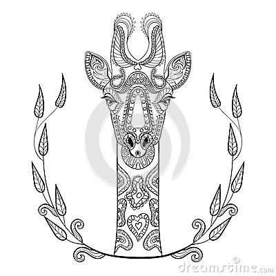 Zentangle giraffe head totem in frame for adult anti for Giraffe mandala coloring pages