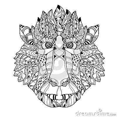 Zentangle Monkey Head Doodle Hand Drawn Vector Stock