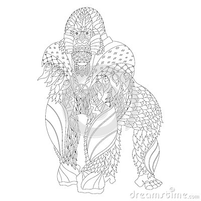 Zentangle Patterned Gorilla Standing Stock Vector Image