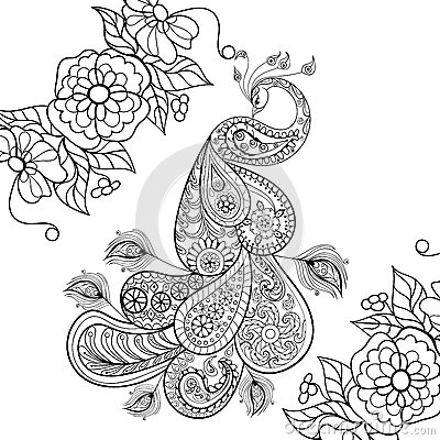 Zentangle Peacock Totem In Flowersfor Adult Anti Stress Coloring Page