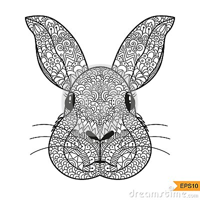 Zentangle Rabbit Head For For Adult Antistress Coloring Page Stock ... Turtle 3d Printing