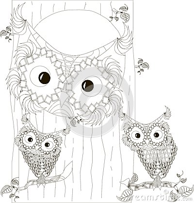 Free Zentangle, Stylized Black And White Owls Family Sitting In The Hollow And On Branches Of Tree Trunk, Hand Drawn, Vector Royalty Free Stock Image - 74966346