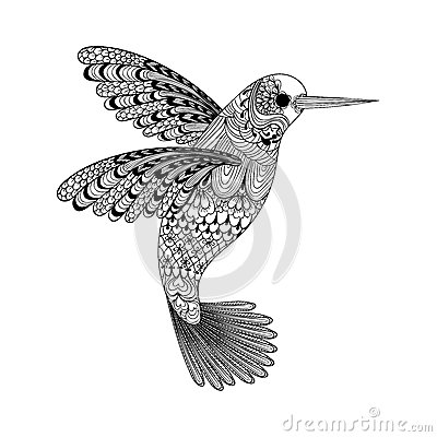 Free Zentangle Stylized Black Hummingbird. Hand Drawn Stock Images - 54117534