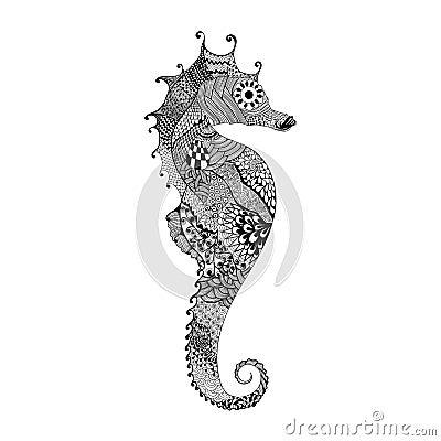 Zentangle Stylized Black Sea Horse Hand Drawn Illustration Isolated