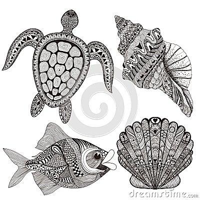 Free Zentangle Stylized Black Sea Shells, Fish And Turtle. Hand Drawn Stock Image - 58756321