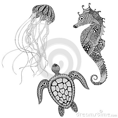 Free Zentangle Stylized Black Turtle, Sea Horse And Jellyfish. Hand D Royalty Free Stock Images - 58757449