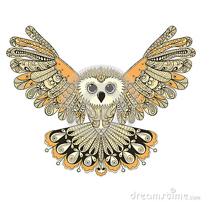 Free Zentangle Stylized Brown Flying Owl. Hand Drawn Vector Illustrat Stock Image - 58751221