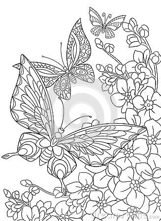Free Zentangle Stylized Butterflies And Sakura Flower Stock Photography - 66795322