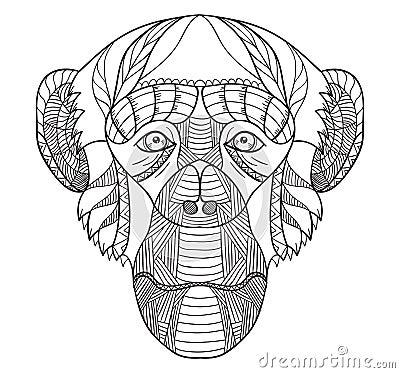 Free Zentangle Stylized Chimpanzee Head, Chinese Zodiac, Vector, Illu Royalty Free Stock Photos - 84741468