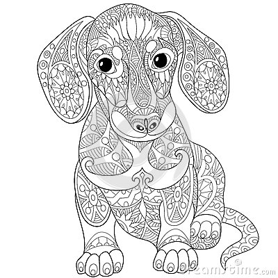 Zentangle Stylized Dachshund Dog Stock Vector Image