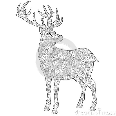 deer coloring pages for adults - stag deer coloring pages