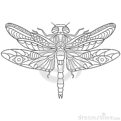 Free Zentangle Stylized Dragonfly Insect Royalty Free Stock Photos - 67964948