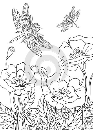 Free Zentangle Stylized Dragonfly Insect Royalty Free Stock Images - 67965079
