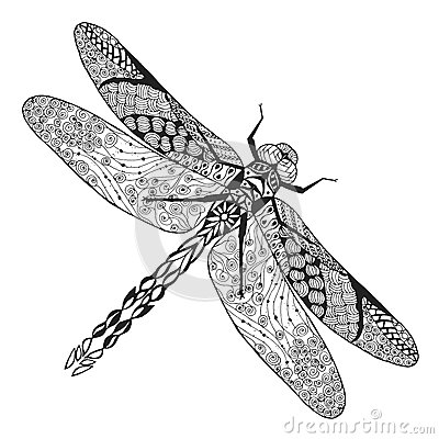 Free Zentangle Stylized Dragonfly. Sketch For Tattoo Or T-shirt. Stock Photo - 59317520