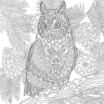 Free Zentangle Stylized Eagle Owl Royalty Free Stock Photos - 72912658