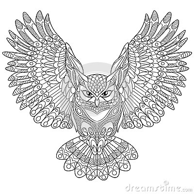 Zentangle Stylized Eagle Owl Stock Vector Image 69797109