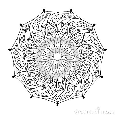 ... Stylized Elegant Round Indian Mandala. Stock Vector - Image: 60163143 Detailed Mandala Coloring Pages For Adults