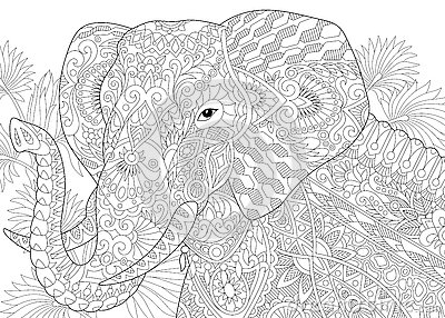 Zentangle Stylized Elephant Stock Vector Image 75008007