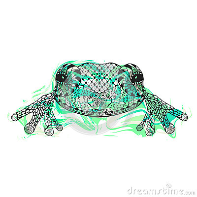 Free Zentangle Stylized Frog With Abstract Colorful Grunge Background Royalty Free Stock Photo - 59317315