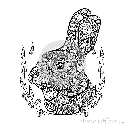 Free Zentangle Stylized Head Of Rabbit In Wreath. Hand Drawn Doodle Royalty Free Stock Image - 58756516