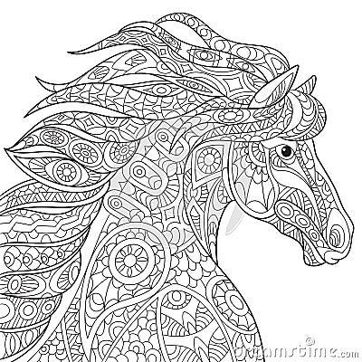 Zentangle Horse Head Stock Illustration Image