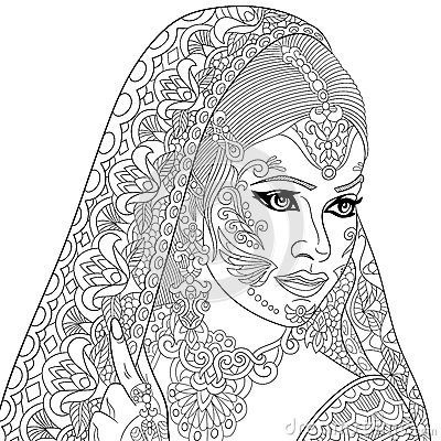 Zentangle stylized indian woman stock vector image 72013074 Coloring books for adults india