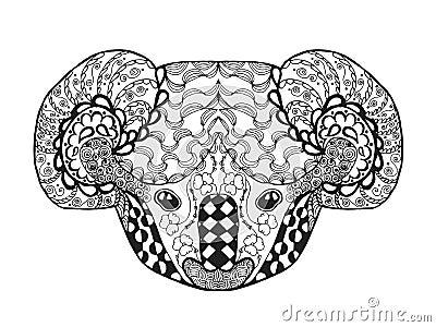 Zentangle Stylized Koala Head Sketch For Tattoo Or T