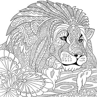 Emblem Logo Or Tattoo With Doodle Zentangle Floral Design Elements