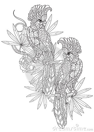 Zentangle Stylized ParrotHand Drawn Stock Illustration