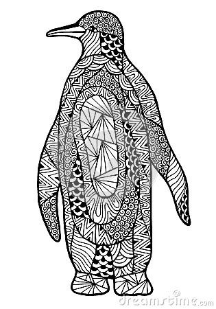 Zentangle A Stylized Penguin Stock Vector Image 62128573