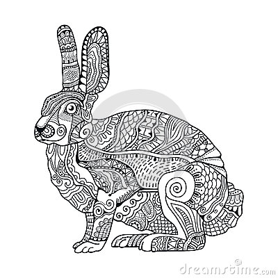 Free Zentangle Stylized Rabbit. Hand Drawn Vintage Doodle Vector Illustration For Easter. Stock Photo - 66395550