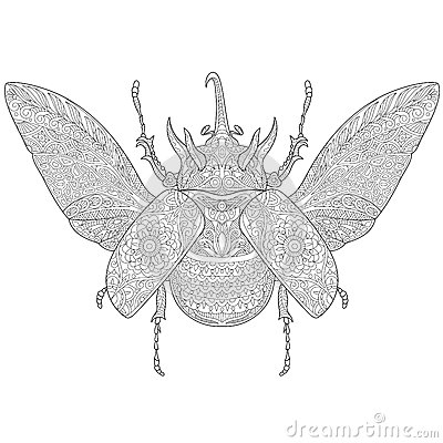 Free Zentangle Stylized Rhinoceros Beetle Stock Photography - 72912062